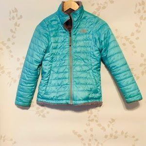 North Face, girls, teal jacket!